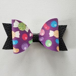 Halloween candy leather hairbow